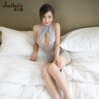 JiaHuiGe Womens Porn Erotic Open Crotch Shining Silk Nightdress Babydoll Halter Mini Dress Pole Dance Sexy