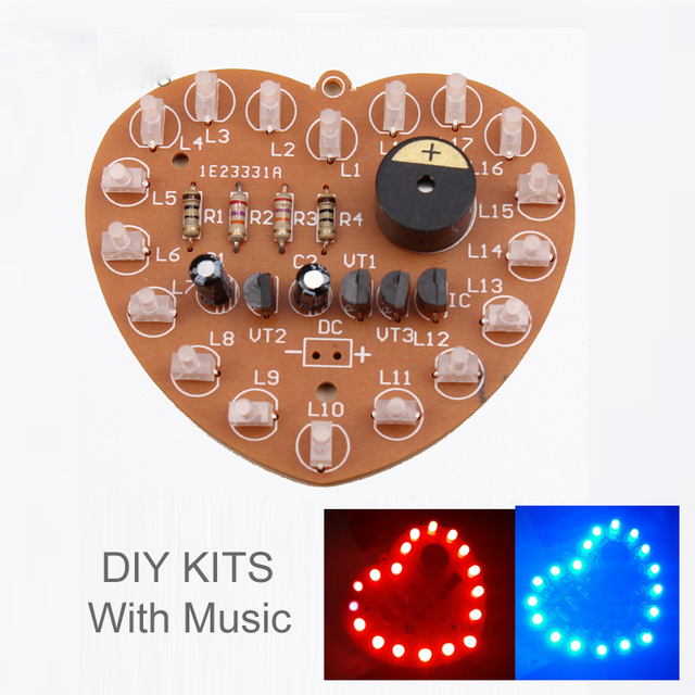 DIY Kit Music Flash Light Kits 18 LEDs Heart-Shaped Red Green Dual-Color Flashing Happy Birthday Music Gift Electronic Fun Parts