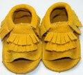 Venda quente double cores genuíno couro de vaca sapatos de bebê mocassins de camurça franja verão fretwork kid primeira walker sola macia unisex