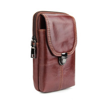 Genuine Cow Leather Mini Casual Bag Men Waist Belt Bags Purses Wallet Case Cover For Samsung