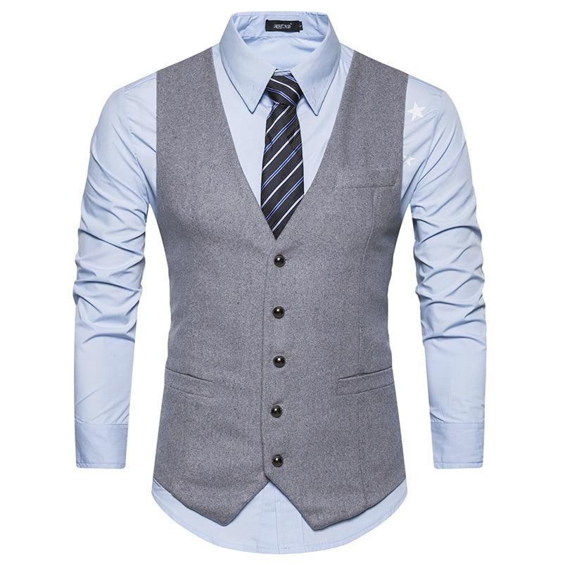 d409aff02d4 Ropa de Hombre 2019 nuevos Chalecos Para Hombre moda sin mangas hombres  traje Chaleco de negocios Casual marca chaleco Gilet vestido chaleco hombres  ...