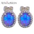 ROLILASON New Arrival Delicate Zircon Design Blue Fire Opal 925 Silver Oval Stud Earrings Fashion Jewelry for Ladies OE605