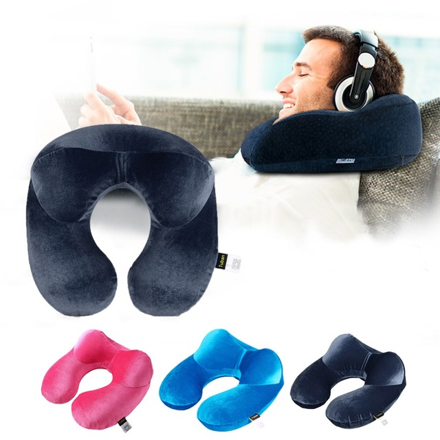 Office Flight Traveling Neck Rest Velvet Inflatable Car Neck Air Pillow U-shaped Cushion Outdoor Travel Portable Pillow Sleeping 4