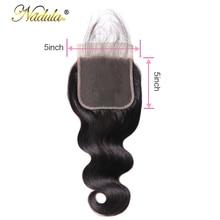 Nadula włosów 5*5 ciało fala koronki zamknięcie część darmowe Remy ludzki włos naturalny kolor brazylijski włosy zamknięcie z dziecko włosy
