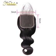 Pelo de Nadula 5*5 onda del cuerpo Cierre de encaje parte libre Remy cabello humano Color Natural brasileño Cierre de cabello con el pelo del bebé