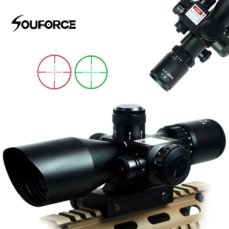High Quality 2.5-10x40 Combo Optical Sight Red Dot Laser Rifle Scope With Illuminated Crosshair Fit Hunting Rifle