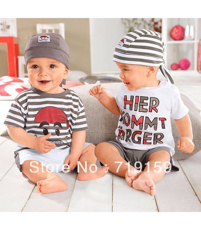 0~2 ages summer cartoon cute stripe children clothing kid suit hat +T-shirt + pant 3 pcs baby girl boy clothing set
