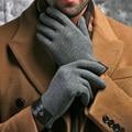Inverno Primavera 2015 Moda de Alta Qualidade pano de algodão apoio para o punho de pelúcia comfortble sentimento macio Homens toque Luvas de tela Luvas
