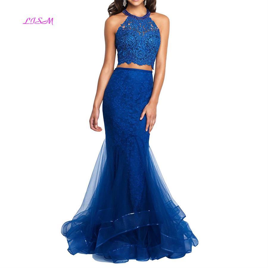 Halter 2 Piece   Prom   Gowns Lace Mermaid Evening   Dresses   Sexy Open Back Black Girl   Prom     Dress   Organza vestidos graduacion mujer