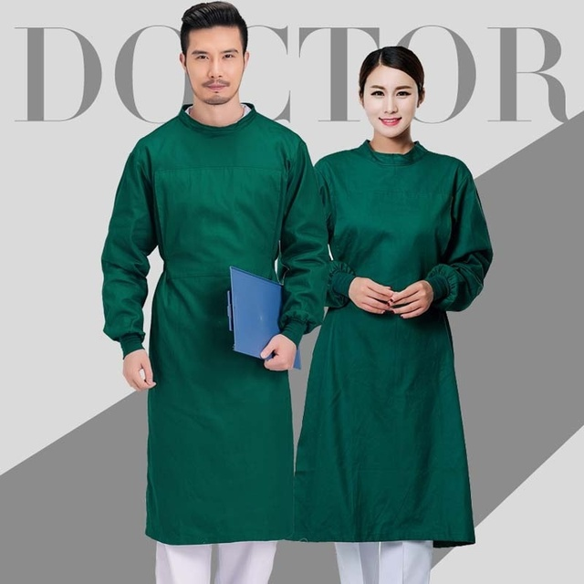 $ US $17.86 100% Cotton Surgical Gowns Medical Clothing Reinforced Protective Gown Reusable Doctor Clothing Surgery Scrubs