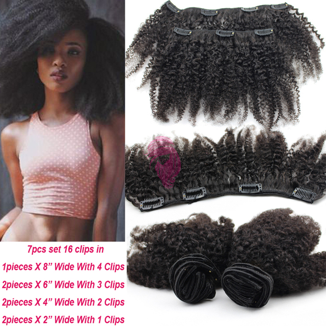 6a Virgin Mongolian Afro Kinky Curly Clip Ins African American Clip
