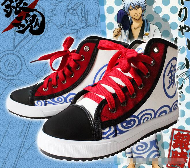 ФОТО Anime Gintama Silver Soul Lace Up Ankle Shoes 2017 New Printed Unisex Women Cosplay Shoes Free Shipping