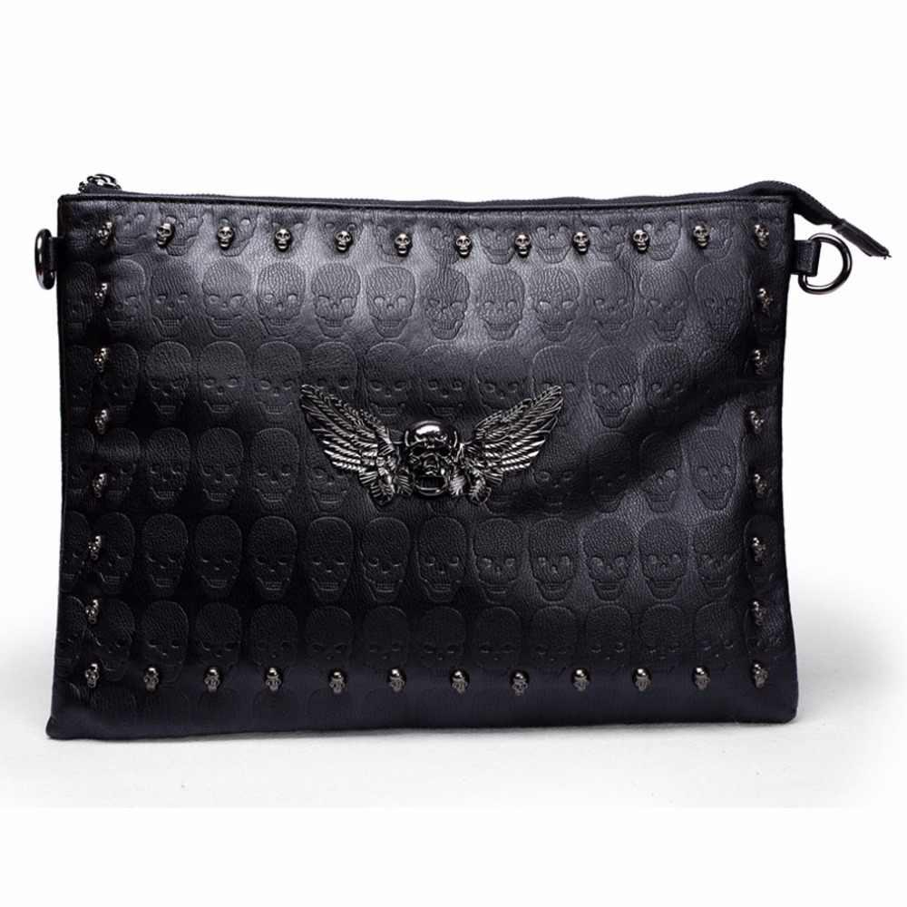 0437809120df Для мужчин кожа заклёпки посланник сумки известных дизайнеров день клатч  черный череп шипами в стиле панк