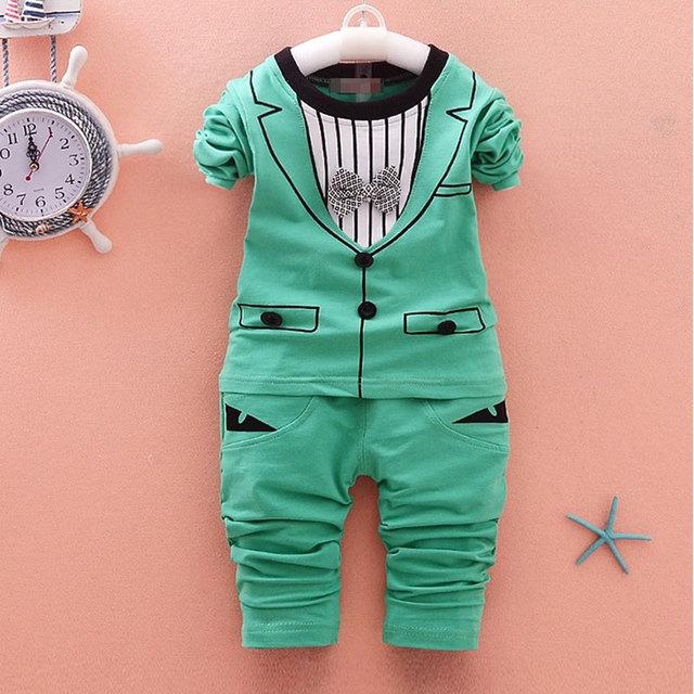 Roupas de bebê menino roupa ocasional terno dos esportes 2 pcs conjuntos para meninos marca de roupas de bebê primavera infantil cavalheiro terno do bebê do aniversário conjunto