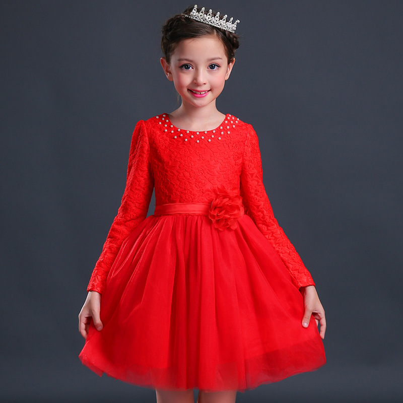 3-10T Girl Holiday Dress 2017 New Girl Lace Long Sleeve Dresses Fashion Children Party Dress Cute Girls Clothes Kids Clothes fashion 2016 new autumn girls dress cartoon kids dresses long sleeve princess girl clothes for 2 7y children party striped dress