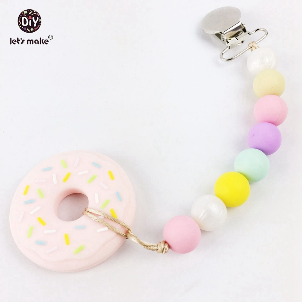 2pcs Silicone Donut Teething Pacifier Clip Food Grade Teether Chewable Beads Sensory Toys Baby Accessories Activity