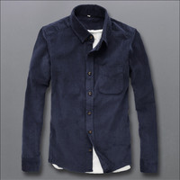 Corduroy Man Shirts Long Sleeve Spring Autumn Blouse For Man Clothing High Quality Casual Solid Shirt
