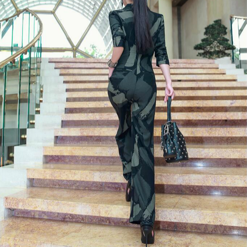 2020 New Spring Summer Fashion Casual Office Lady Brand Female Women Ladies Girls Personalized Camouflage Jumpsuit Clothing