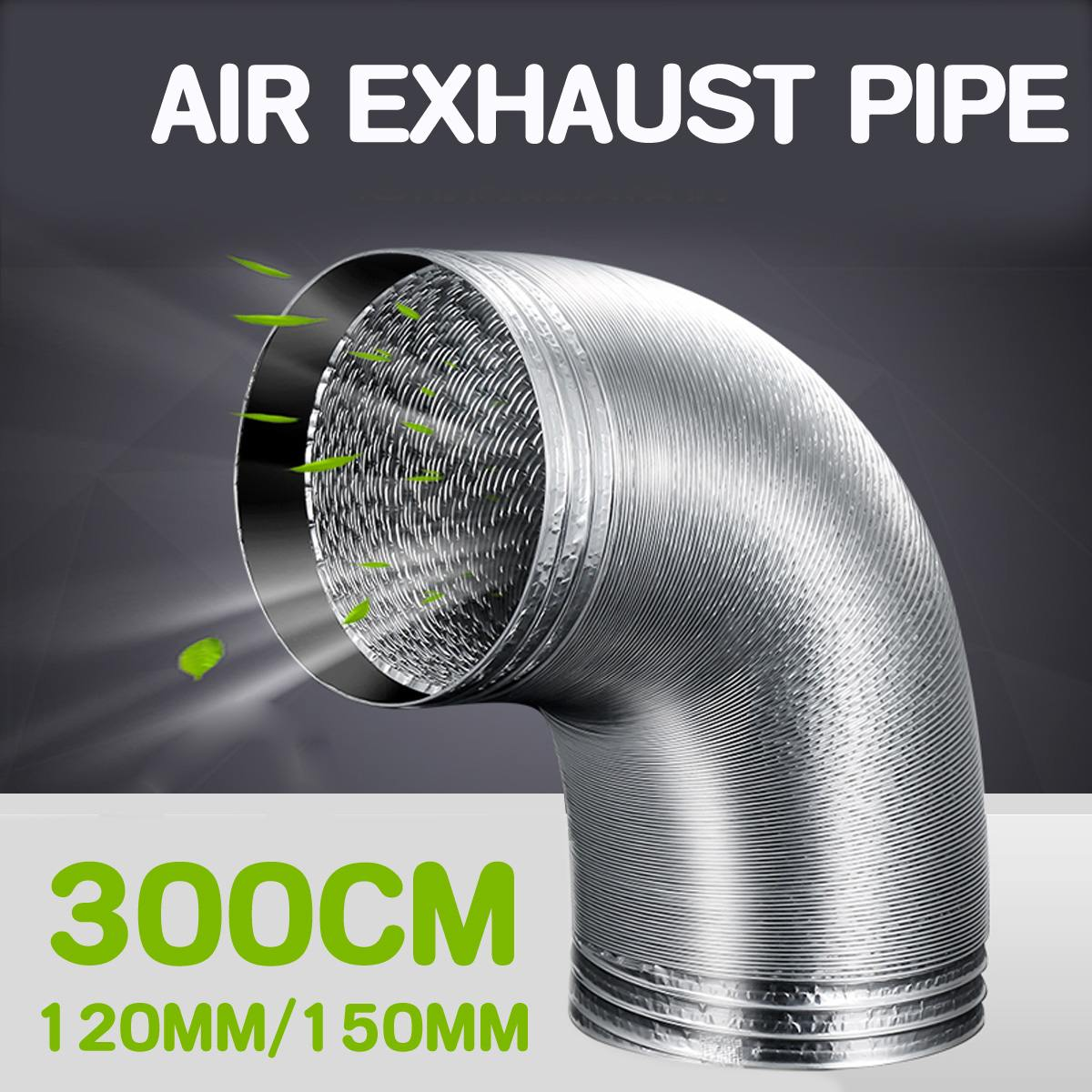 300CM 120mm/150mm Aluminum Tube Air Ventilation Pipe Hose Flexible Exhaust Duct Fresh Air System Vent Bathroom