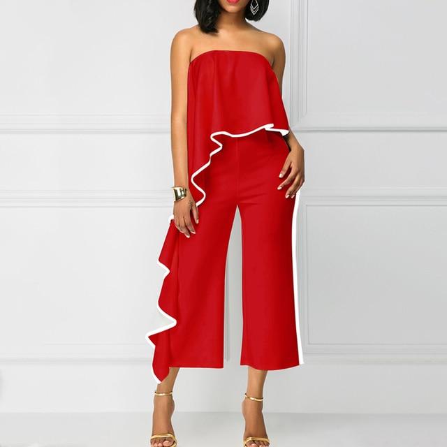 Sexy été femmes combinaisons pantalons longs sans bretelles en vrac solide élégant femmes combinaisons combishorts décontracté bureau dame barboteuses