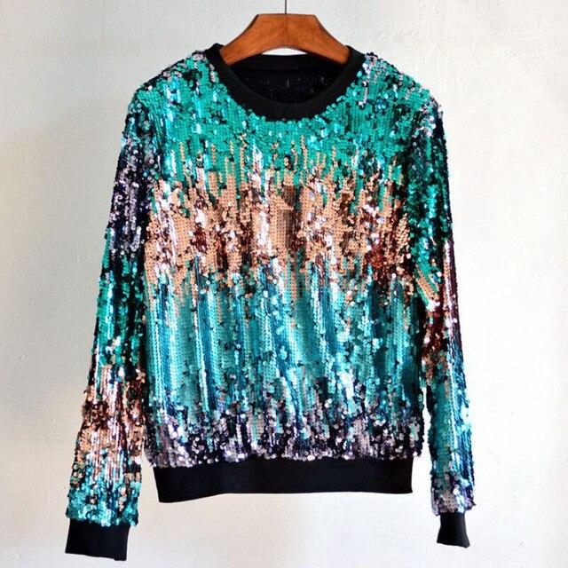 2016 новая модная женская толстовка, блестящий градиент вышит бисером и блестками, пуловер свитер, рубашки, 4 цвета
