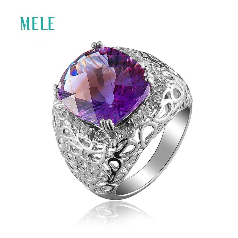 Stříbrný prsten MELE Natural ametyst, velký ovál 12mm * 14mm, - Šperky