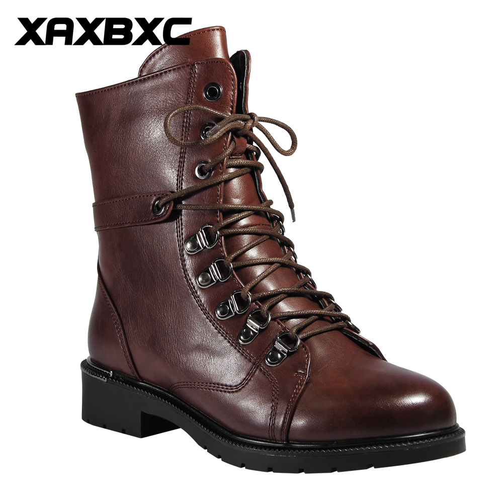 XAXBXC 2017 Retro British Spring Brown Leather Cross-Tied Short Ankle Boots Cowboy Women Martin Boots Handmade Casual Lady Shoes ankle black solid cross tied winter martain boots zipper design suede british style botas femeninas walkway casual shoes women