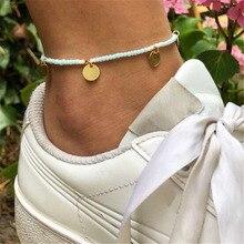 New 2019 Fashion Gold Circle Beach Ocean Bracelet Anklet Bohemian Beads Sequin Pendant For Women