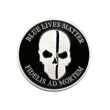 Blu Morte Importa Del Cranio Monete Fidelis Ad Mortem NYPD New York City  Police Department Collezione di Monete Memorial Souveni. 61aa1d64148e