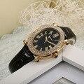 Palacio de la vendimia del Diseñador de Las Mujeres Cristales de Relojes de Cuero Escala Romana de Negocios Vestido de Pulsera Oval de Cuarzo Relojes Analógicos NW4216