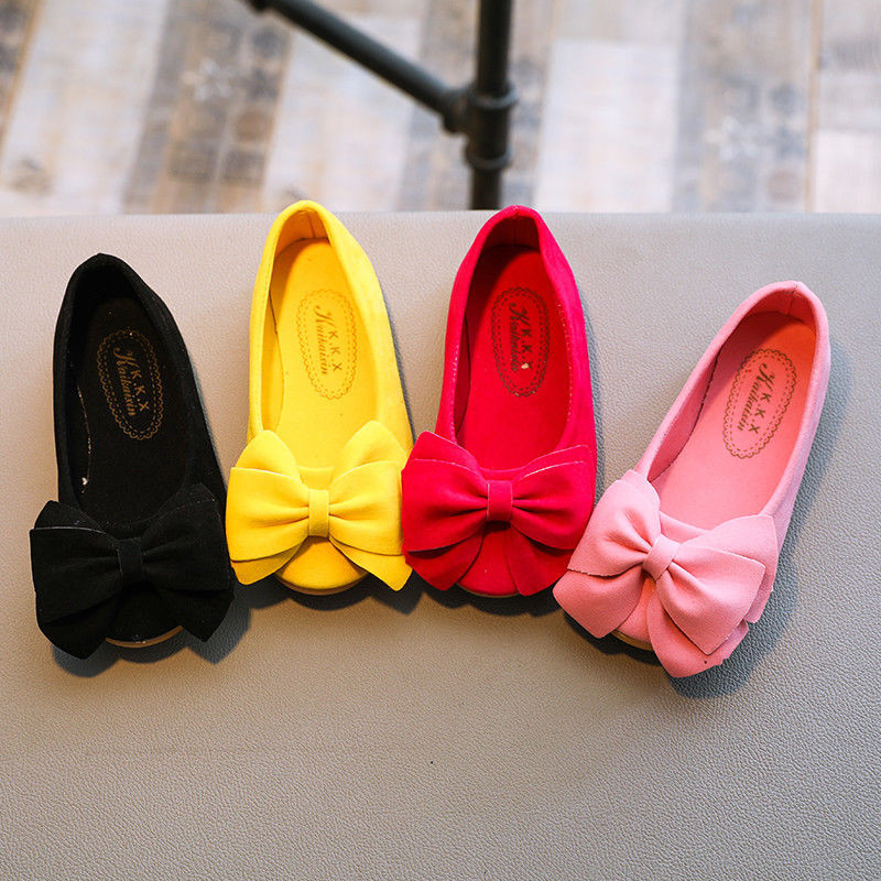 Arrival Lovely Girls Shoes Baby Girls Solid Color Flock -knot Slip-on Cow Muscle Outsole Princess Shoes Bow Dance Shoes