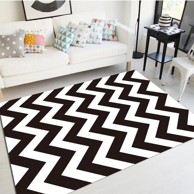 Modern carept nordic style black and white area rug living - Black and white living room rug ...
