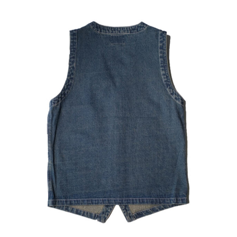 Image 3 - Japan Style Mens Spring  Vintage Denim  Vest  Multi Pocket Cargo Vests  Single Breasted Jeans Vests Jacket Waistcoat  Ds50302-in Vests & Waistcoats from Men's Clothing