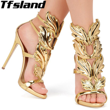 47ad4af28315 New Women Shoes Gold Leaf Flame Gladiator Sandals 11cm Woman High Heels  Shoes Patent Leather Party
