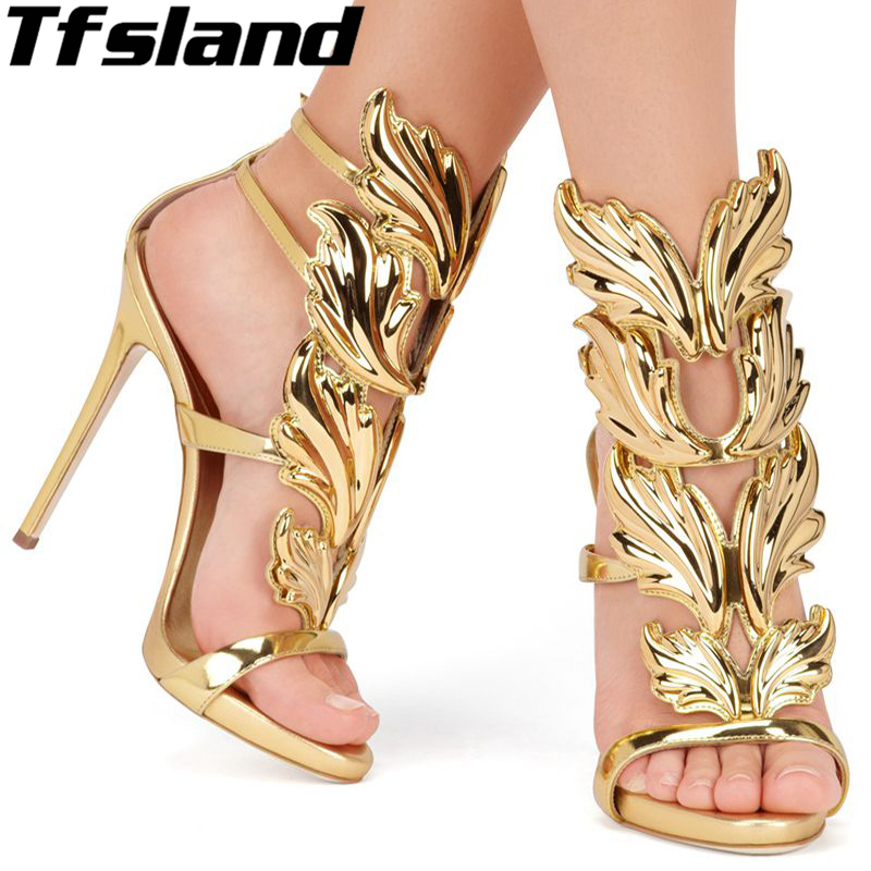 New Women Shoes Gold Leaf Flame Gladiator Sandals 11cm Woman High Heels Shoes Patent Leather Party Dress Walking Shoes Sneakers