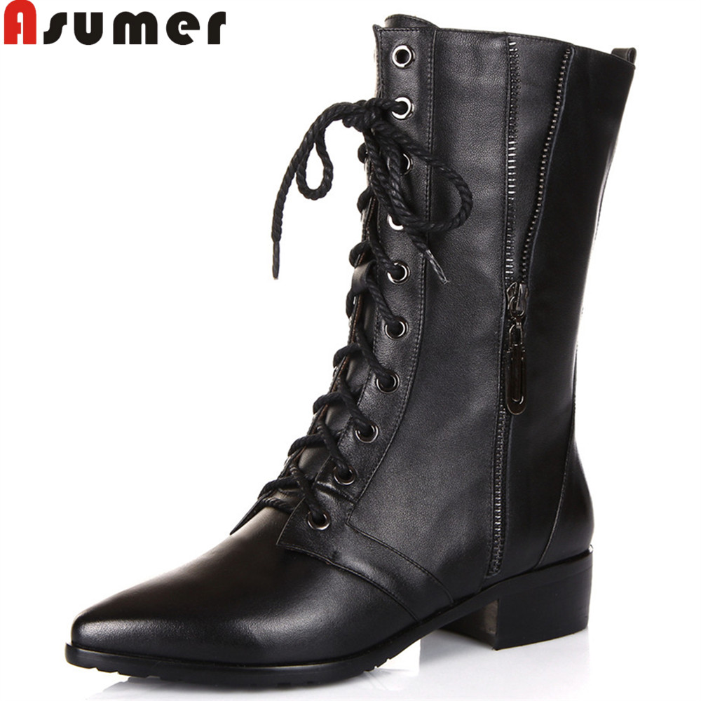 Asumer black new arrive women boots zipper lace up pointed toe genuine leather boots square heel cow leather ankle boots asumer black white fashion new women boots pointed toe genuine leather boots zipper cow leather ankle boots low heel shoes