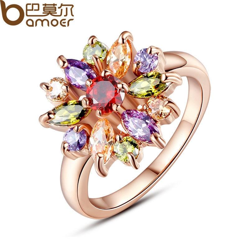 BAMOER 3 värvi roosa kulla värvi sõrmust sõrmus, AAA - Mood ehteid - Foto 3