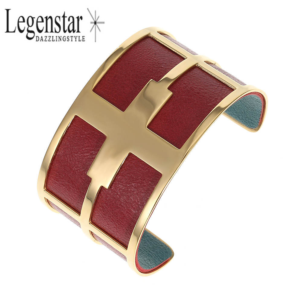 Legenstar Wide Wristband Cross Cuff Bangles for Women Gold Color Stainless Steel Opening Interchangeable Leather Bracelet