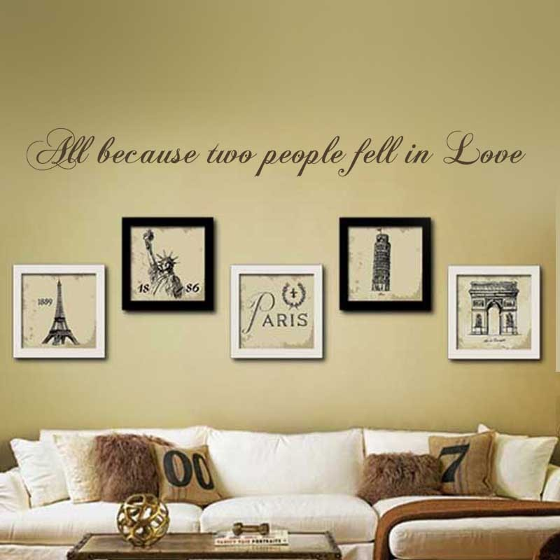 Love Wall Decal All because two people fell in love Wedding Quote ...