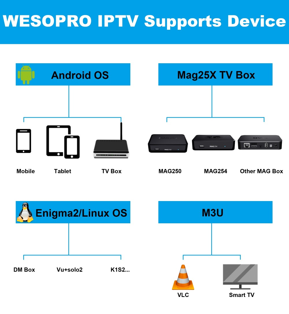 WESOPRO IPTV Supports Device