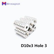 500 шт. N35 10 мм x 3 мм кольцевой отверстие 3 мм Сильный Круглый магнит с углублением редкоземельный неодимовый магнит 10 x для детей возрастом от 3 до 10*3-3