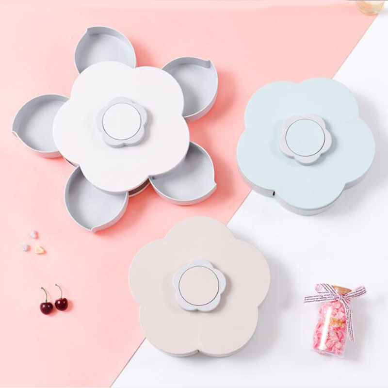 Event & Party 5 Grids Snack Serving Tray Double-layers Candy Box With Lid Hollow Candy Dish Wedding Table Decoration For Dried Fruits Candy Sn Traveling