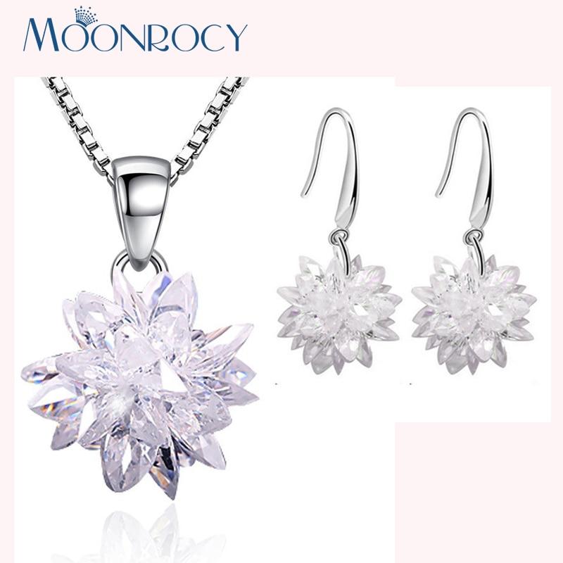 925 Sterling Silver Zircon Ice Flower Dangle Hook Earrings Women Jewelry Gift