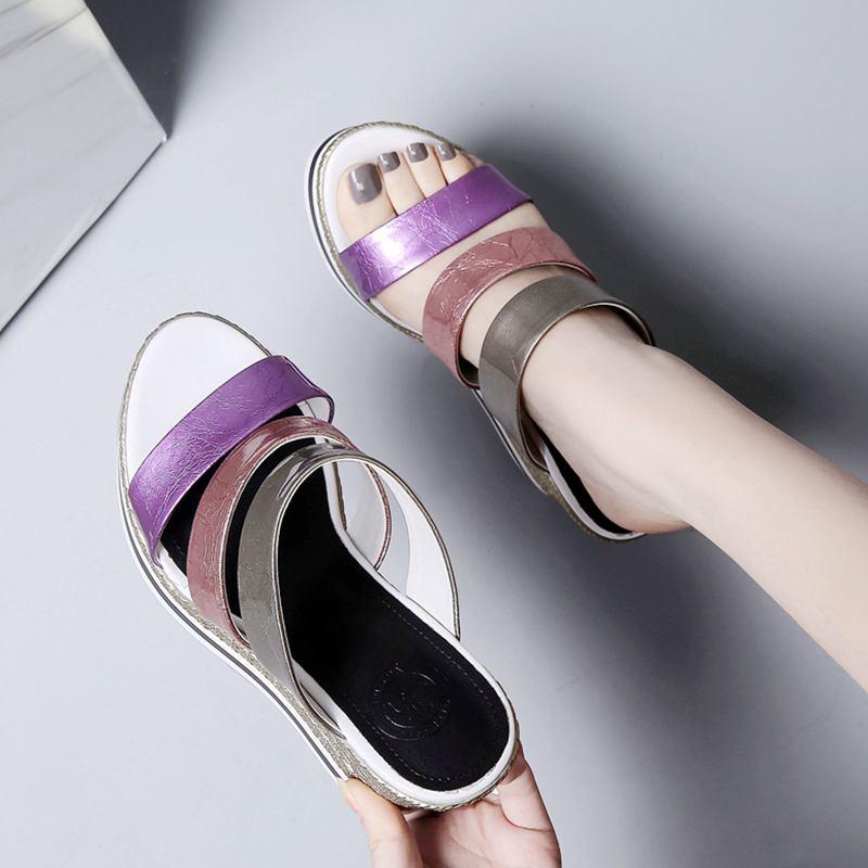 Ayakk.'ten Yüksek Topuklular'de Sıcak satış peep toe karışık renkler takozlar süper yüksek kadın sandalet rugan slingback katır marka platformu yaz ayakkabı L6f1'da  Grup 2
