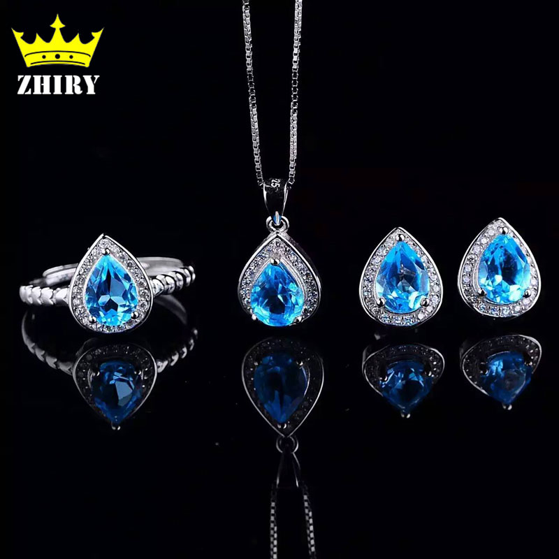 ZHHIRY Natural Blue Topaz Jewelry Sets Genuine Solid 925 Sterling Silver Women Gemstone Ring And Necklace Pendant Earrings viennois new blue crystal fashion rhinestone pendant earrings ring bracelet and long necklace sets for women jewelry sets