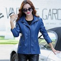 Spring new Coat women hooded jacket Leather hooded motorcycle jacket