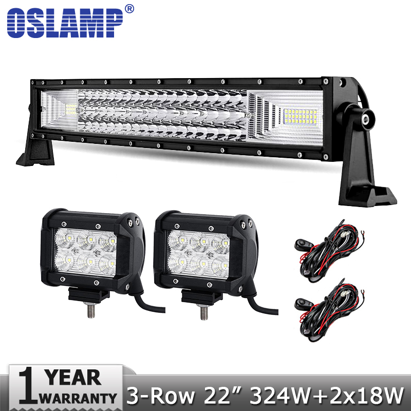 Oslamp 3-Row 22 inch 324W CREE Chips LED Light Bar Offroad Led Bar+18W Flood Led Work Lights 12v 24v 4x4 Truck SUV ATV UTV 4WD  oslamp 7d 120w 12 led work light bar cree chips led bar offroad spot flood truck suv atv 4x4 4wd driving 12v 24v led bar lights
