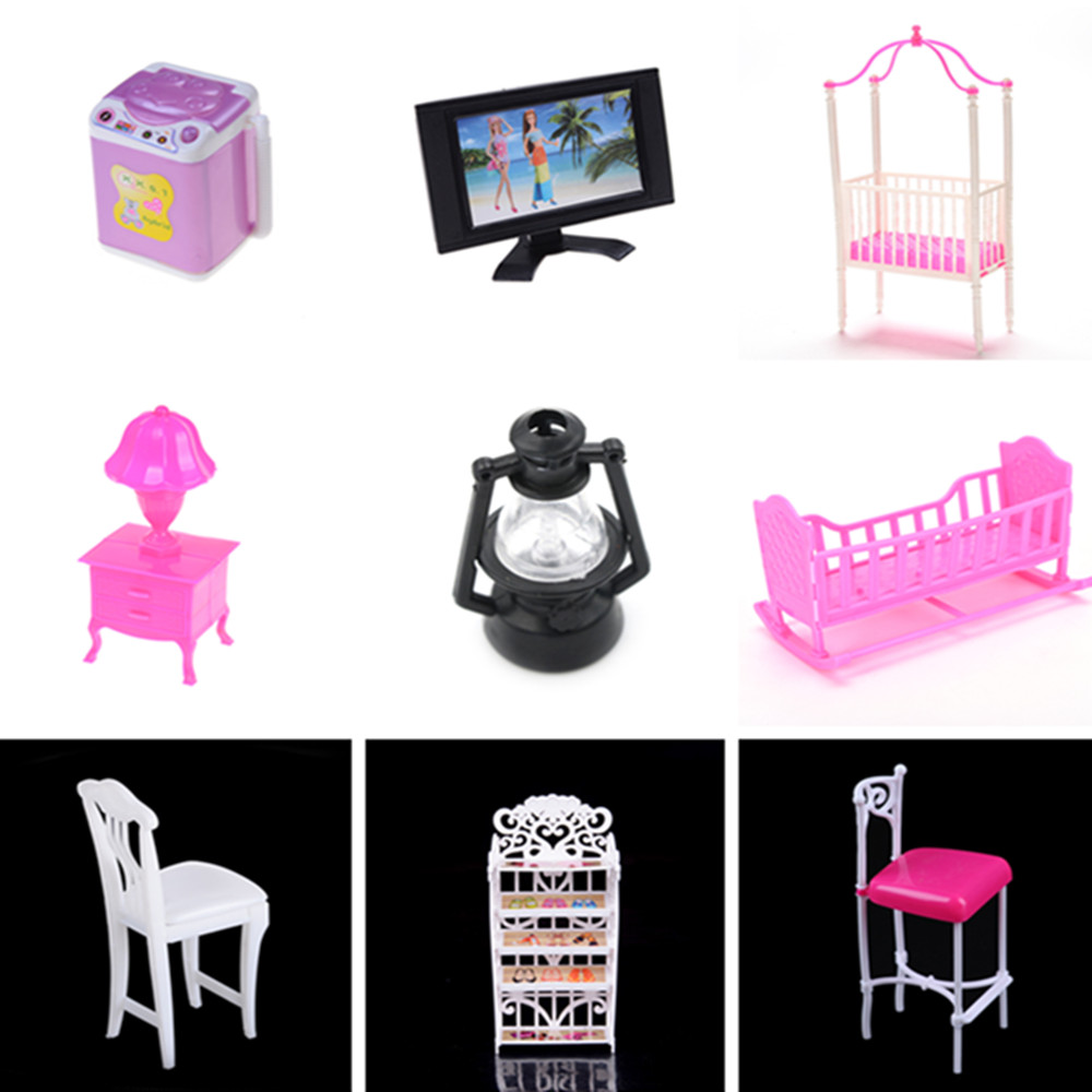 Princess Swing Bar Chair Washing Machine Lamp Rocking Cradle Bed TV 1:12 Dollhouse Miniature Kitchen Room Decor Dolls Accessory