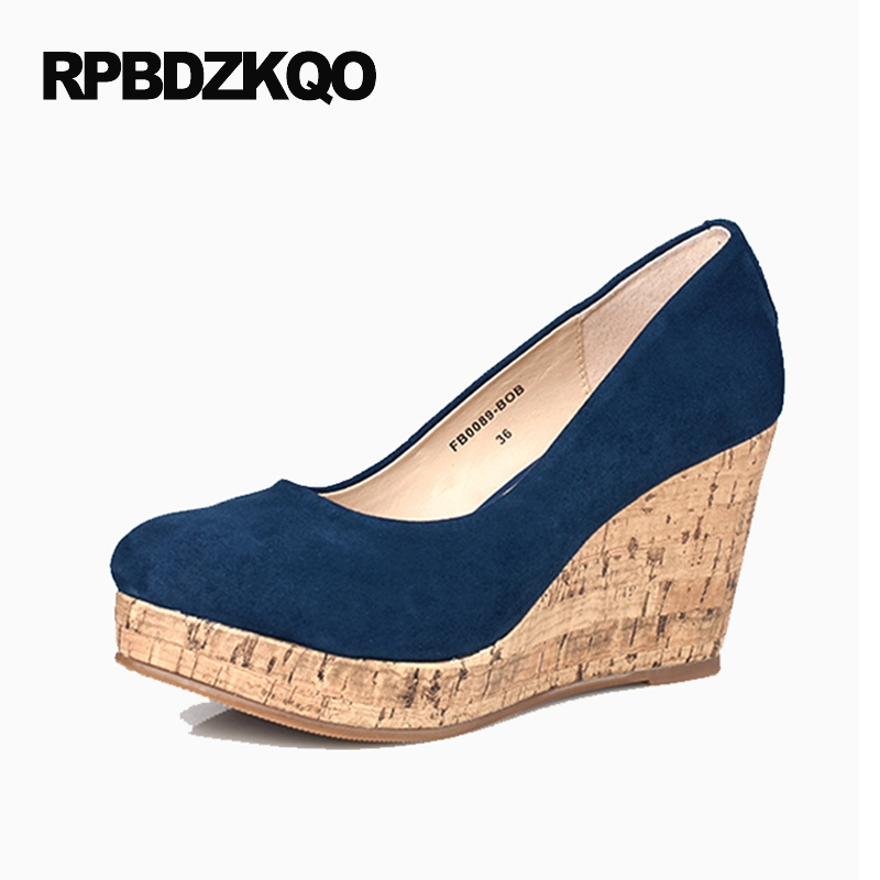 Women Plus Size Platform Genuine Leather Pumps Top Quality High Heels Brand Shoes 2017 4 34 Small Wooden Blue Wedge Round Toe nayiduyun women casual shoes low top platform wedge high heels boots round toe slip on pumps punk chic shoes black white sneaker