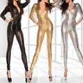 Cuero negro Sexy Body Suits para Las Mujeres PVC Erótico Trajes Leotardo de Látex Body Catsuit Mujeres Wet Look Buzos y Rompers